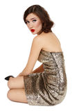 Girl in sparkly dress Royalty Free Stock Photo