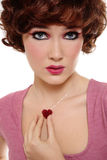 Girl with sparkly heart Stock Photo