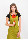Girl with a spatula Stock Images