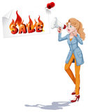 Girl with speaker announcing sale Stock Images