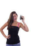Girl with speaker Royalty Free Stock Images