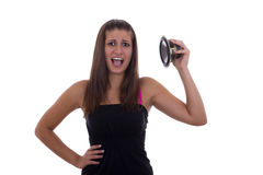 Girl and speaker noise. On white background stock photos