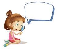 Girl speaking and watching through lense stock illustration