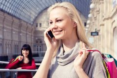 Free Girl Speaks By Phone Stock Images - 8698224