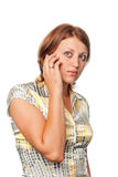 Girl speaks by mobile phone Royalty Free Stock Images