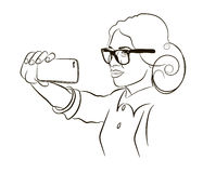 Girl speaks by mobile phone. Young beautiful girl wearing sunglasses talking on mobile phone stock illustration