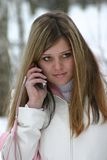 The girl speaks on the phone Stock Photo