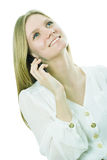 The girl speaks by phone Royalty Free Stock Photos