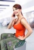 Girl speaks on telephone l Stock Photography