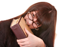 Girl in spectacles with  book. Concept. Royalty Free Stock Image