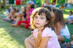 Girl spectator little children looking show park Royalty Free Stock Photography