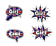 Girl Speech Bubbles. Fashion Patch Badge British Expressions, Girl Speech Bubbles. Set of Girl Stickers, Pins in Cartoon Comic Style stock illustration