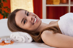 Girl spending her free time at spa Royalty Free Stock Photography