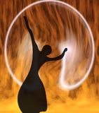 The girl in a sphere. Silhouette of the ballerina on a fiery background Royalty Free Stock Image