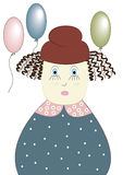 The girl with spheres. Curly hair, flight of balloons, children's holiday, blue shirt with a print Stock Photos