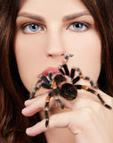 Girl with spider. Close-up brachypelma smithi spider sitting on girl's hand and stretching out to her mouth Royalty Free Stock Photos