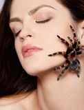 Girl with spider. Close-up portrait of girl with brachypelma smithi spider creeping over her face Royalty Free Stock Photo