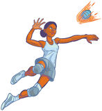 Girl Spiking Flaming Volleyball Vector Cartoon Illustration Stock Photo