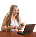 Girl spill coffe to the notebook Royalty Free Stock Photo