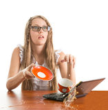 Girl spill coffe to the notebook Stock Image