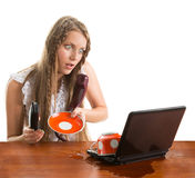 Girl Spill Coffe To The Notebook Royalty Free Stock Images