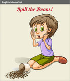 A girl spilling the beans. Idiom vector illustration