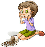 Girl spilling the beans. Young girl spilling the cup of beans on a white background royalty free illustration