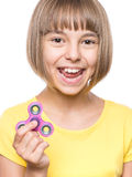 Girl with spinner Royalty Free Stock Image