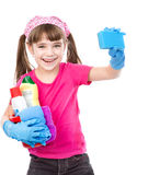 Girl with splash ready to help with cleaning. isolated on white Stock Photos