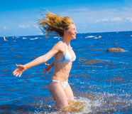 Girl splashing Royalty Free Stock Photography