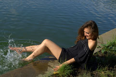 Girl splashing Stock Photo