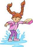 Girl Splashing in Puddle Vector Royalty Free Stock Photos