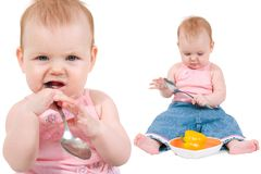 Girl with spoon Royalty Free Stock Images