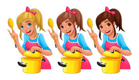 Girl with spoon is cooking Royalty Free Stock Image