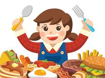 A Girl with spoon and fork going to eat Foods. stock illustration