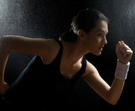 Girl in sport. On the night Royalty Free Stock Photos