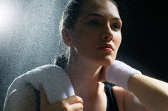 Girl in sport. On the night Stock Image