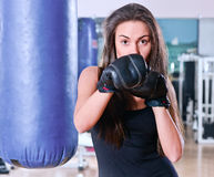Girl in sport hall Royalty Free Stock Photo
