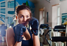 Girl in sport hall Stock Image
