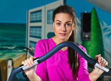 Girl in sport hall Royalty Free Stock Image
