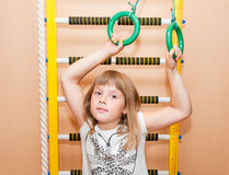 Girl with sport ladder. Teen girl near sport ladder at home Royalty Free Stock Photography