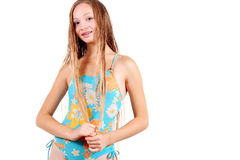 Girl in sport's swimming suit Royalty Free Stock Photo