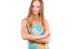 Girl in sport's swimming suit Royalty Free Stock Images