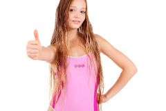 Girl in sport's wear with thumbs up! Royalty Free Stock Images
