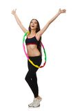 A girl in sport suit with hula hoop isolated on Stock Image