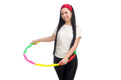 A girl in sport suit with hula hoop Stock Images