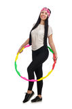 A girl in sport suit with hula hoop Stock Image