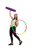A girl in sport suit with hula hoop  Royalty Free Stock Image