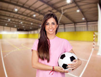 Girl in the sports center Royalty Free Stock Photos