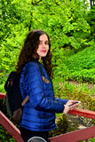 The girl in the blue jacket Royalty Free Stock Photography